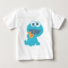 Cookie Monster Eating Cookie Baby T-Shirt. Personalize your very own Sesame Street merchandise with your name or message. You'll love these adorable items. Perfect for friends and family. Cookie Monster Eating Cookies, Shirt Shop, T Shirt, Baby Shirts, Consumer Products, Basic Colors, Cotton Tee, Funny Tshirts, Baby Kids