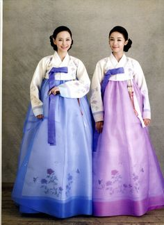 Blue and purple traditional hanbok