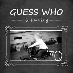 Chalkboard Guess Who Simple Photo  70th Birthday Invitation