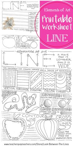 This printable worksheet covers the element of art line Examples and information are included on the front with an activity for the student to complete on the back This is perfect for introduction to art students arteducation elementsofart line Elements Of Art Texture, Elements Of Art Space, Elements Of Art Examples, Line Art Lesson, Art Lesson Plans, Kids Art Class, Art For Kids, Line Art Projects, Art Education Projects