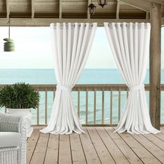 Carmen Sheer Extra Wide Indoor/Outdoor Window Curtain for Patio, Porch, Cabana - - Natural - Elrene Home Fashions Wide Curtains, Pergola Curtains, Grommet Curtains, Sheer Drapes, Outdoor Patio Curtains, Diy Patio, Curtain Length, Thing 1, Window Panels