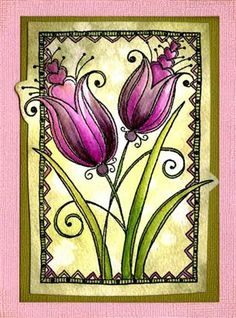Woodware - Love Tulips Less Is More, Digi Stamps, Flower Cards, Tulips, Cardmaking, Sewing Crafts, Projects To Try, Paper Crafts, My Love