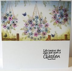 Hanging Baskets, Bursting with Daisies Container Flowers, Succulent Containers, Container Plants, Succulents, Card Making Tutorials, Making Ideas, Cardio Cards, Plants For Hanging Baskets, Stamped Christmas Cards
