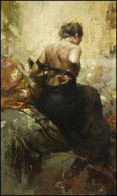Artist: Jeremy Mann {contemporary figurative impressionist artist female seated woman posterior back texture painting} <3 redrabbit7.com