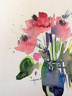 """Kaufe """"abstrakte Mohnblumen in der Vase"""" von Britta75 auf folgenden Produkten: T-Shirt, Classic T-Shirt, Vintage T-Shirt, Leichter Hoodie, Tailliertes Rundhals-Shirt, Shirt mit V-Ausschnitt, Baggyfit T-Shirt, Grafik T-Shirt, Chiffontop für..."""