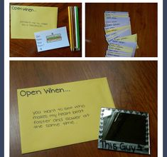 "You always see the outside of the ""open when "" envelopes, but what do you put inside?"