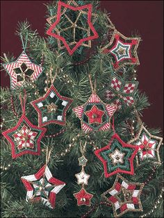 Christmas Stars Ornaments, plastic canvas needlepont