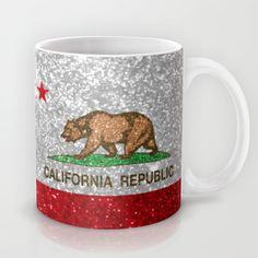 Glitter California Republic Flag Mug