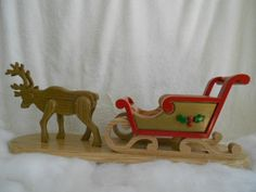 Handcrafted solid wood, Santa Christmas Sleigh and Reindeer, White Oak and Red Oak