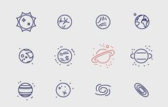 Infinity Space Icons by Adam Katyi, via Behance.  Love this! Inspiring for my outer space wrapping paper project. :)