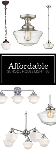 Schoolhouse lighting pendant lights, hallway lighting, bathroom lighting. New clear schoolhouse glass looks great in farmhouse style designs too!