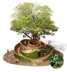 Design D'espace Public, Playground Design, Backyard Playground, Pocket Park, Landscape Architecture Design, Urban Architecture, Architecture Student, Parking Design, Urban Furniture