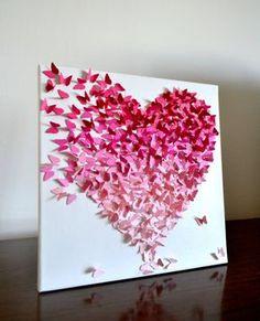 Ombre klassische Schmetterling Herz rosa / 3D von RonandNoy auf Etsy