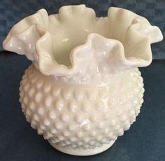 """Art Glass Ruffle Top Vase - Hobnail Milk Glass Pattern - 6"""" Tall picclick.com"""