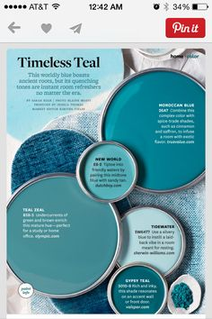 Color scheme from a magazine. I'm in love with all shades of teal.