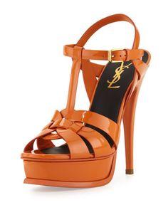 Tribute High-Heel Patent Sandal, Orange by Saint Laurent at Neiman Marcus.