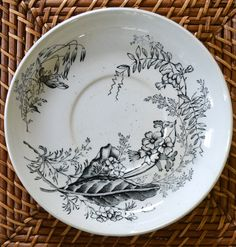 Antique English Victorian Black Transferware Plate Aesthetic Movement Bees & Botanicals