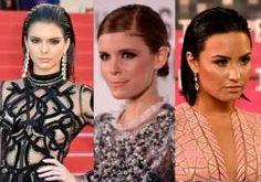 Kendall Jenner, Kate Mara e Demi Lovato usando slick hair