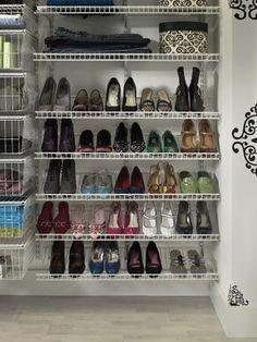 use bottom side of wire shelving as shoe racks can get home depot rh pinterest com closet organizer for shoes diy closet shelves for shoes