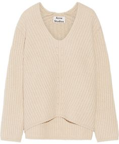 Acne Studios - Deborah Ribbed Wool Sweater - Beige. Acne Studios' 'Deborah' sweater has an enveloping fit that's easy to layer over shirts or dresses. Designed with exaggerated sleeves, it's spun from cozy beige wool with a tactile ribbed finish. Team yours with a tonal skirt and sneakers. #affiliate