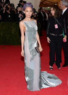 Fashionista Nicole Richie looked beautiful in a Donna Karen Atelier custom-dyed Sage backless graphic devore velvet gown at the Met Gala on May 5, 2014.
