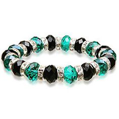 Green and black glass bead stretch bracelet