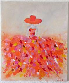 TABLEAU MODERNE FEMME ROBE COLOREE (13) SUR TOILE FORMAT 55X46 : Peintures par sonia-creation