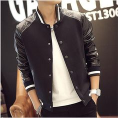 2016Men Baseball Jacket Leather Sleeves Men Korean Casual Baseball Jacket College Hip Hop Jacket Baseball Jacket Leather Sleeves