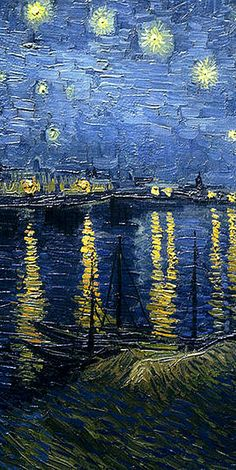 Vincent Van Gogh 'Starry Night over the Rhone' detail center. This is my favorite van gogh Arte Van Gogh, Van Gogh Art, Art Van, Van Gogh Pinturas, Post Impressionism, Impressionist Art, Vincent Van Gogh, Van Gogh Paintings, Van Gogh Famous Paintings