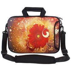 17 17.3 17.4 Mum Flower Laptop Sleeve Bag Case w Shoulder Strap for Dell Asus
