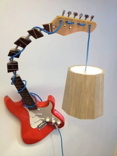 Guitar lamp with wooden lampshade