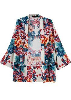 Kimono lâche motif floral -bleu rouge  16.12
