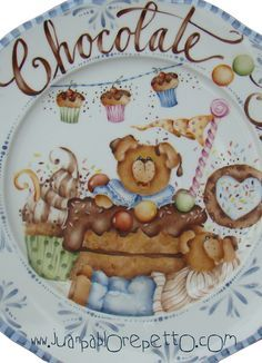 Chocolate show, porcelain China Painting, Ceramic Painting, Ceramic Art, Dinner Plate Sets, Dinner Plates, Ceramic Plates, Porcelain Ceramics, Decoupage Plates, Country Bears