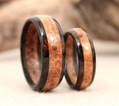 Matching Pair Layered Wood Rings от WedgewoodRings на Etsy