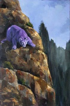 Mountain Lion acrylic painting by Julia Lucich. Party at its Peak is mostly done with a pallet knife.