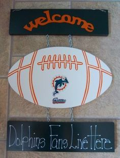 New Miami Dolphins Football Welcome Sign  24.99 Free Shipping