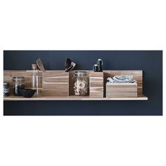 Bathroom Wall Shelf IKEA - SKOGSTA, Wall shelf, Solid wood is a durable natural material.The shelf becomes one with the wall thanks to the concealed mounting hardware. Ikea Shelves, Kitchen Shelves, Display Shelves, Wall Shelves, Floating Shelves, Bedroom Shelving, Skogsta Ikea, Wall Shelf Unit, Home