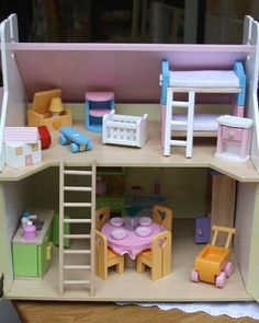 Lillys Cottage - Starter furniture set fully painted and decorated with heart motif, opening shutters and windows. – Size wide x deep x high Open Shutters, Kids Toys, Furniture Sets, Toddler Bed, Cottage, Windows, Deep, Children, Heart