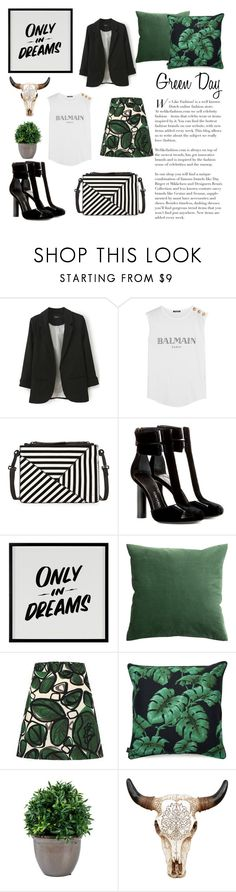 """""""Sem título #360"""" by laura-martini ❤ liked on Polyvore featuring Balmain, L.A.M.B., Tom Ford, Baron Von Fancy, H&M, WALL and greenday"""