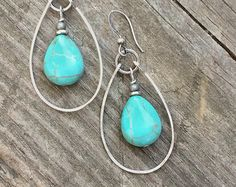 Turquoise Dangle Hoop Earrings With Hammered by RusticaJewelry