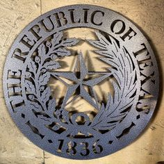 """The Republic of Texas 1836~Wall Badge.These are 16""""round and cut from (11ga.)-right at an 1/8"""" thick.Hanger welded on the back.Then powder coated for durability. Color shown (Coppervein) these are beautiful pieces of metal art. As shown price $75.00 plus tax and shipping. ) ~ JDH Iron Designs www.starsovertexas.com email me: jimmydon@starsovertexas.com or call or text 254 749 2925"""