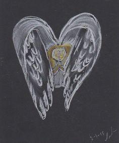 extra day 2 Angel praying. Pastel on black card