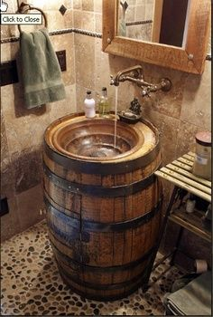 Upcycled Jack Daniels Barrel Sink Bwood Builders Diy Bathroom Ideas Barn