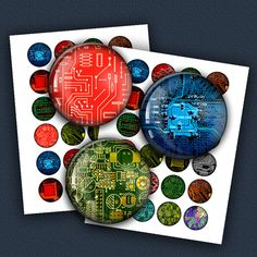 Circuit Board Digital Collage Sheet  1.5 inch 1 by MobyCatGraphics, $2.95