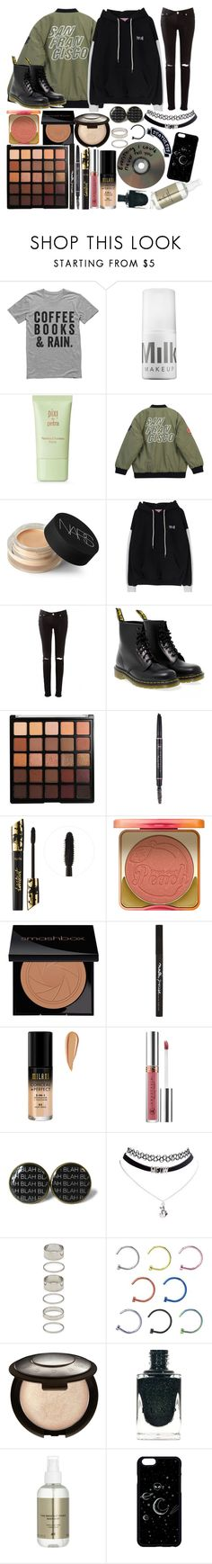 """""""One jacket two looks pt. 2// """"I've done some thinking of my own, and when I come home, I wanna be done, don't wanna be famous no more"""""""" by thelyricsmatter ❤ liked on Polyvore featuring MILK MAKEUP, Pixi, Chicnova Fashion, NARS Cosmetics, Dr. Martens, Morphe, Anastasia Beverly Hills, tarte, Too Faced Cosmetics and Smashbox"""