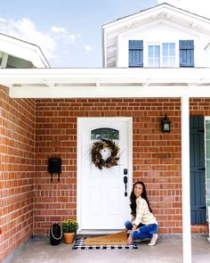 Front porch ideas, brick home. I'm making changes to our living room and already bought the big piece of furniture that will set the tone for the room. Photographers Office, Home Office Closet, Blogger Home, Stills For Sale, Framed Tv, House Entrance, Expensive Candles, House Goals, Fireplace Mantels