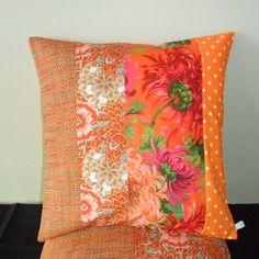 Housse de coussin carrée en patchwork, dahlia, orange