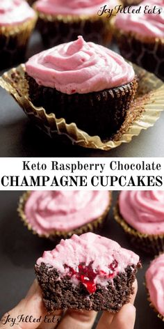 Keto Chocolate Champagne Cupcakes with Raspberry Icing - Low Carb, Grain Free, Sugar Free, THM S - Chocolate Champagne Cupcakes with Raspberry Icing are perfect for New Year's Eve or any other special occasion. There is a hint of champagne in these classic chocolate raspberry cupcakes, just enough to make them extraordinary. #lowcarb #keto #sugarfree #grainfree #glutenfree #cupcakes #champagne #chocolate
