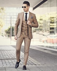 cool 30 Outstanding Dress Pants Ideas - The Perfect Outfit for Ultimate Men's Fashion Brown Suit Wedding, Wedding Men, Wedding Suits, Wedding Dress, Three Piece Suit, 3 Piece Suits, Mens Fashion Suits, Mens Suits, Tan Suit Men