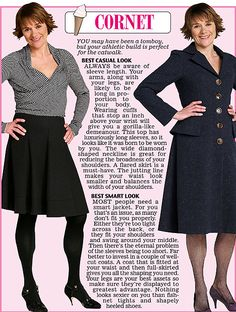 Trinny and Susannah show off the clothes to suit the Cornet women's body type.